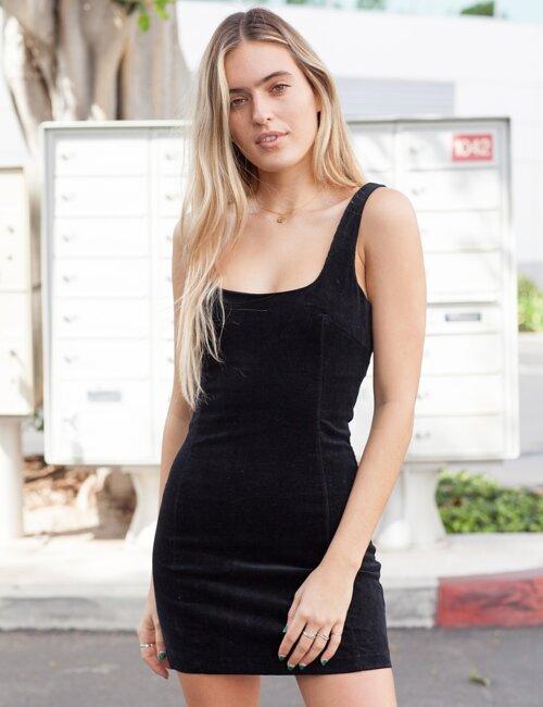 Saturday Nights Black Corduroy Mini Dress