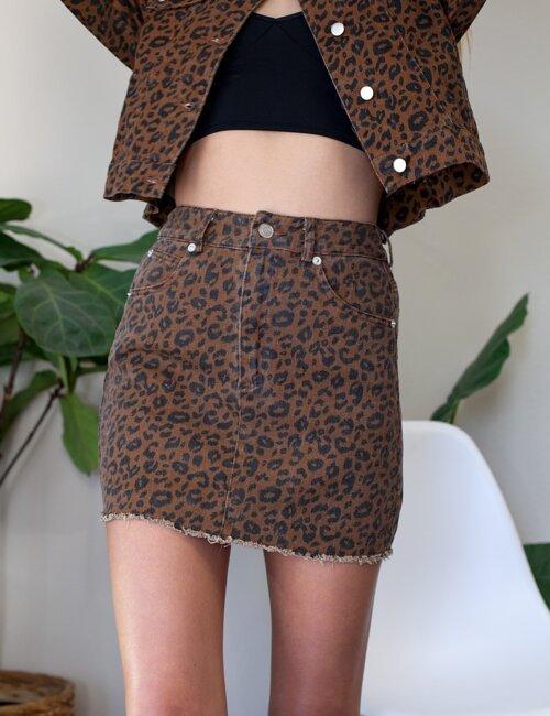 Olsen Brown Cheetah Denim Skirt