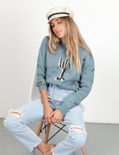 Indio Blue Cactus Sweater