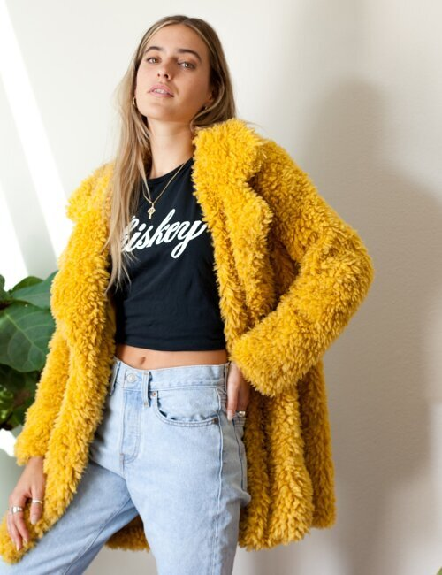 Dream A Little Mustard Fur Coat