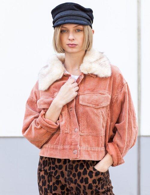Avec Corduroy Salmon Fur Collar Jacket
