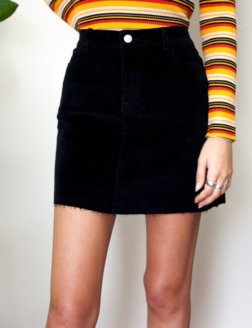 Show Me Love Black Corduroy Skirt
