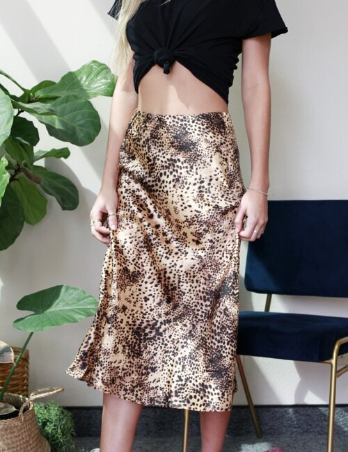 SoHo Tan Cheetah Midi Skirt