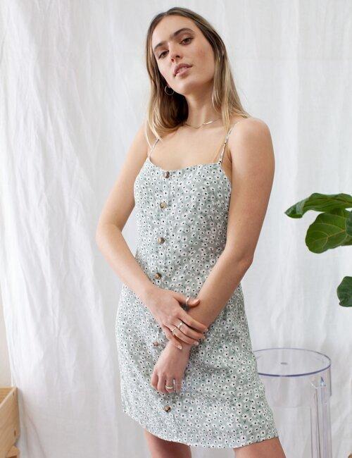 Golden Hour Sage Floral Dress