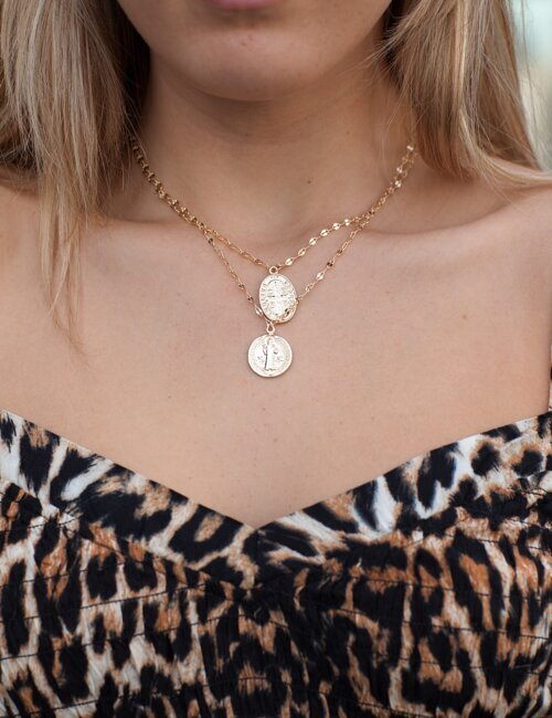 Double Gold Layered Medallion Necklace