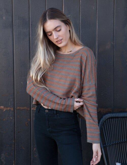 Skylar Olive + Brown Striped Sweater
