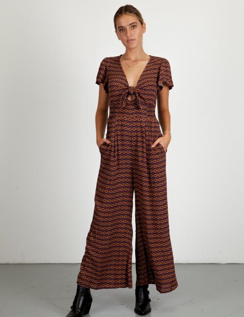 Dixie Brick Patterned Jumpsuit
