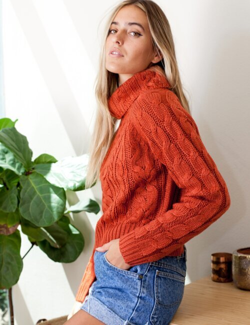 Sweet Caroline Rust Knit Turtleneck