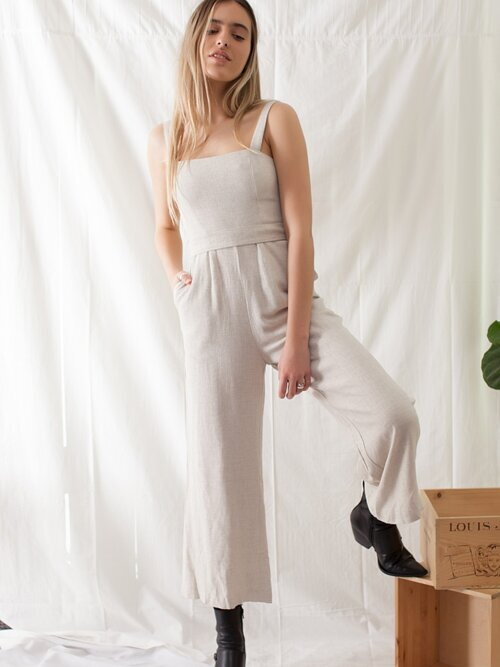 Under The Palms Taupe Jumpsuit