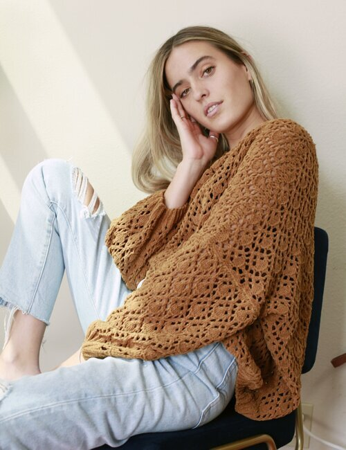 Fleetwood Caramel Crochet Sweater