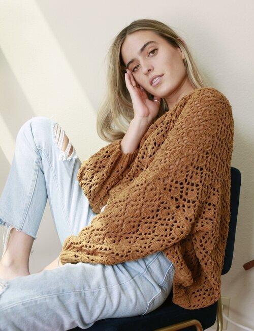 Fleetwood Caramel Crochet Sweater