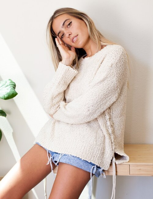 Gracie Natural Side Tie Sweater