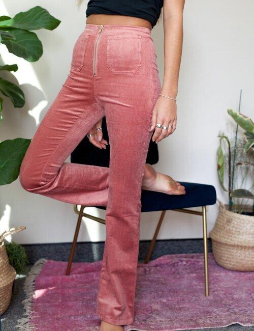 Chloe Pink Corduroy Bell Bottom Pants