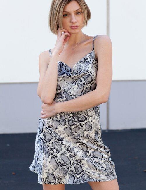 Maxine Grey Snake Dress