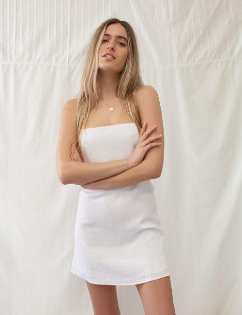 Best Of Me White Linen Dress