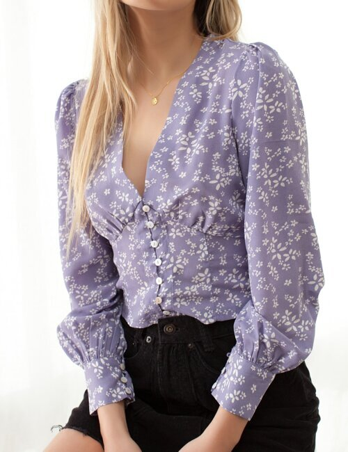 Sweetener Purple Floral Top