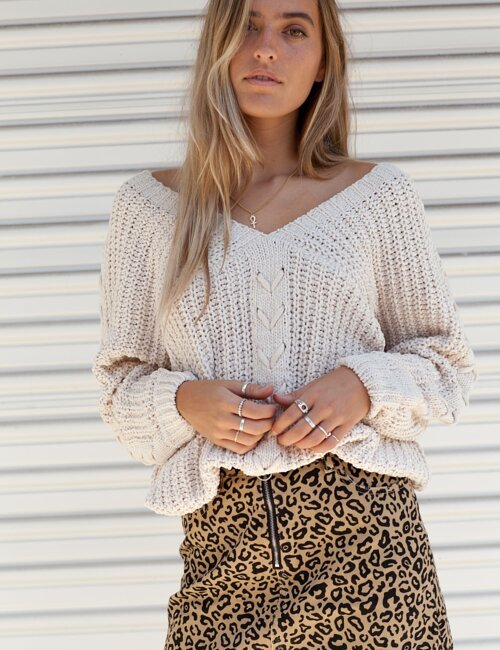Santa Rosa Ivory Knit Sweater