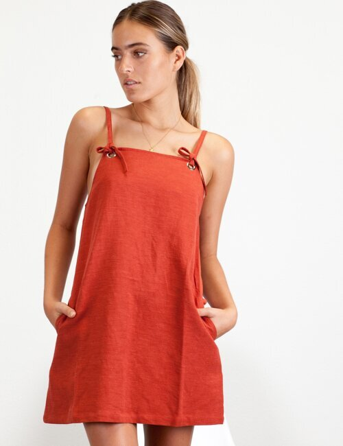 In The Hamptons Red Apron Dress