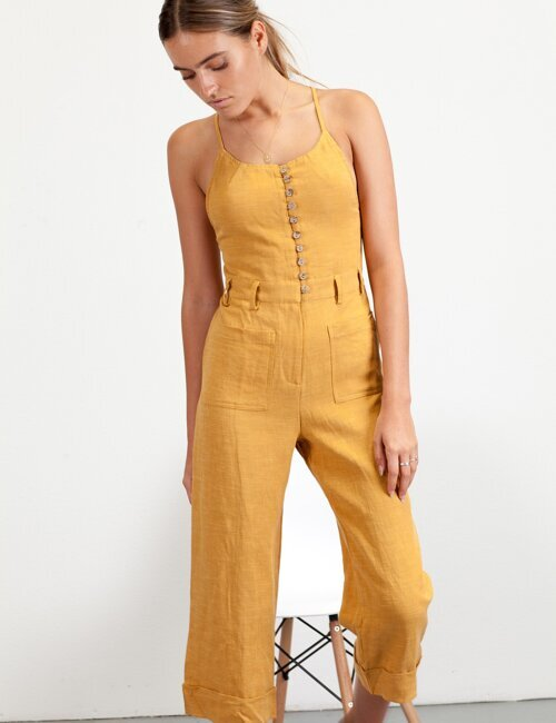 Ease Up Yellow Jumpsuit