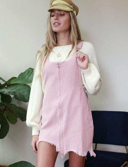 Lianna Pink Overall Dress