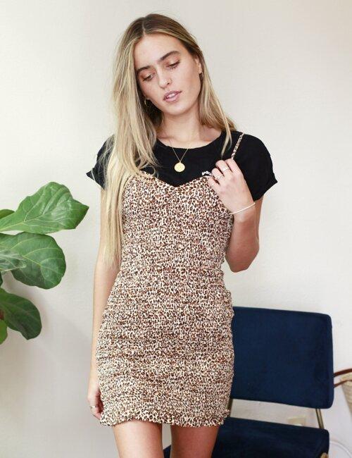 Daisy leopard  Smocked Dress