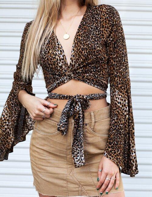 After Dark Cheetah Tie Top