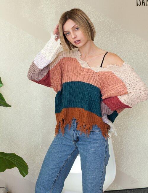 January Beige Striped Sweater