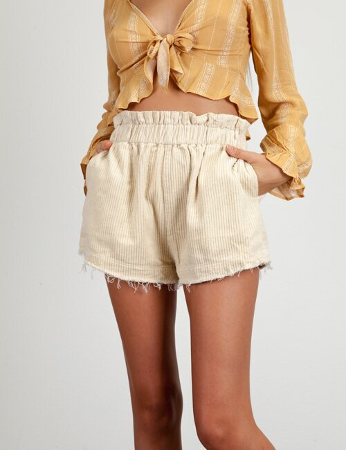 Remade Ivory Pull-On Corduroy Short