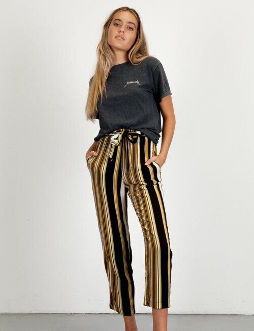 Taylor Jean Black & Gold Stripe Pants