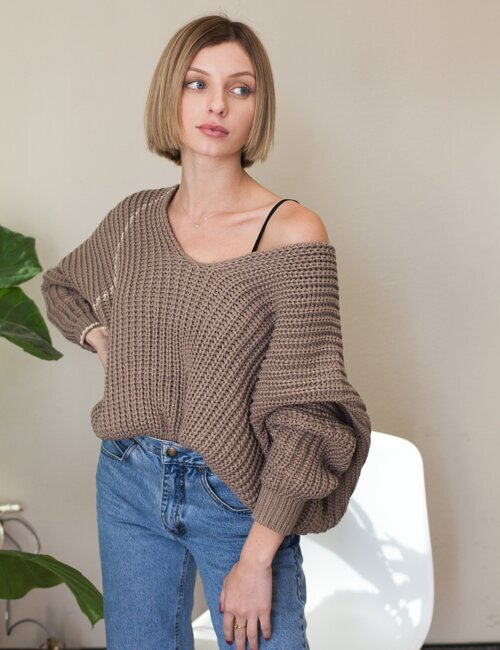 Angelia Mocha Knit Sweater