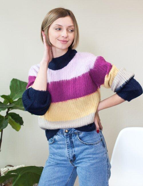 Leighton Lavender Stripe Sweater