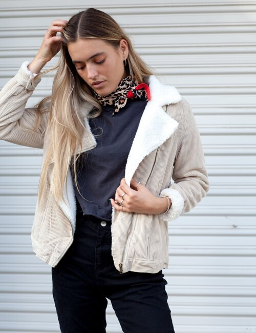 Half Moon Tan Corduroy Moto Jacket