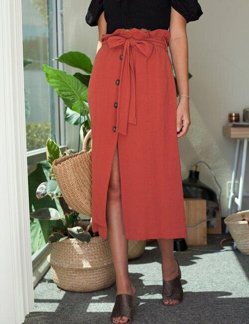 Feminine Appeal Brick Midi Skirt