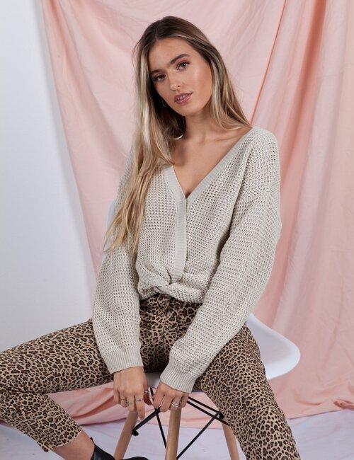 Billie Jean Tan Twist Knit Sweater