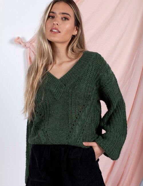 Carra Olive V-neck Sweater