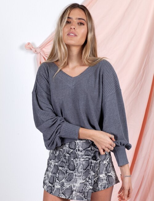 Lou Lou Charcoal Oversized Top