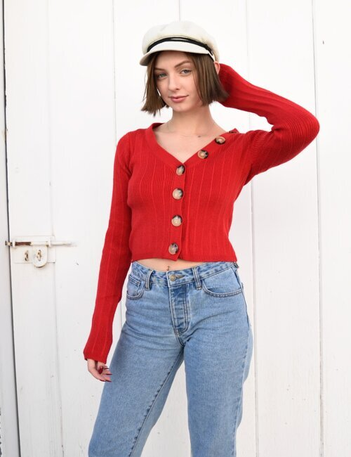 Sweet Thing Red Button Up Sweater