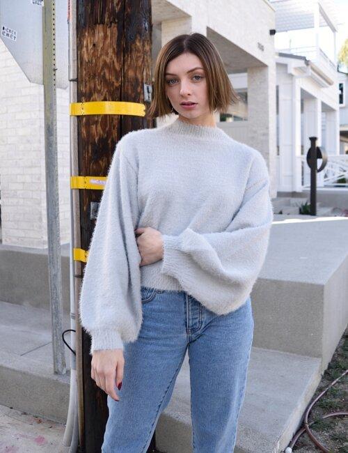 New Mood Silver Turtleneck Sweater