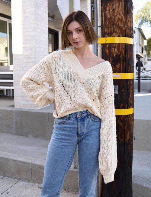 Carra Cream V Neck Sweater