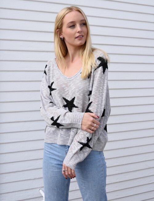 West Hollywood Grey Star Sweater