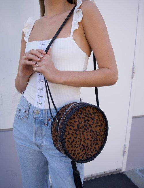 Circle Tan Leopard Cowhide Purse