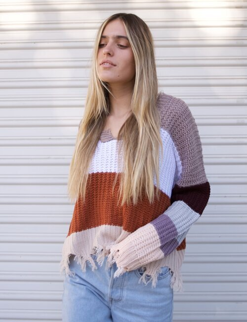 January Mocha Striped Sweater