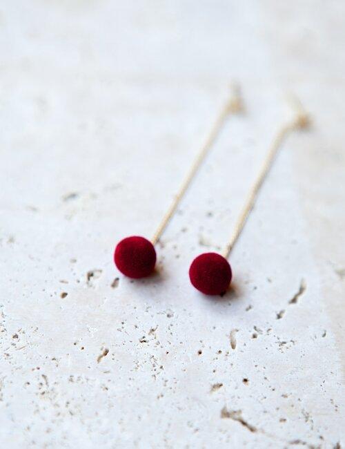 Pom-Pom with star Earring - Red