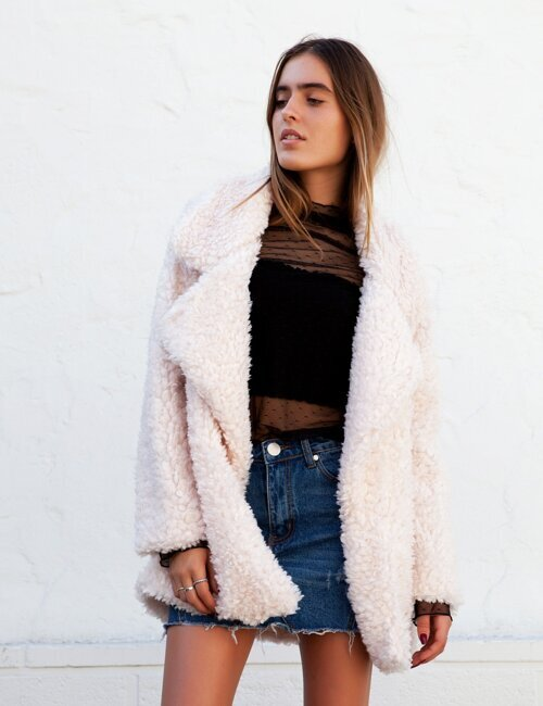 Peyton Cream Fuzzy Coat