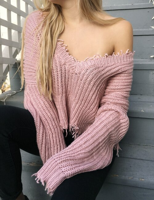 April Dusty Rose Sweater
