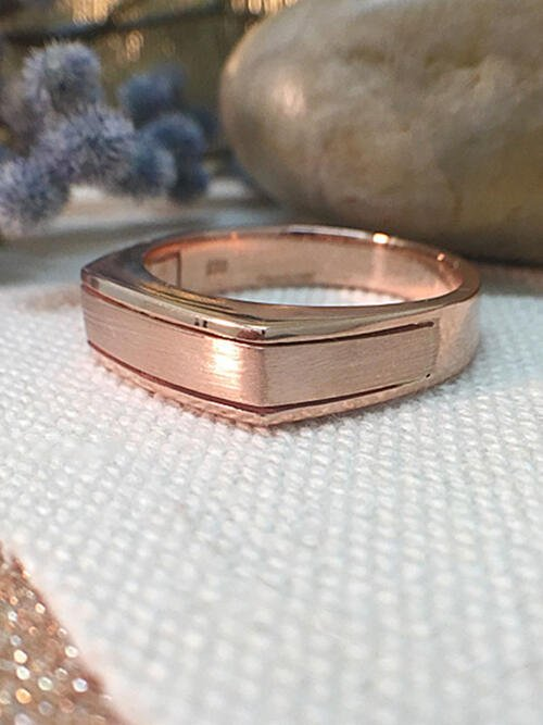 Mens Wedding Band | Angular Mens Ring | Rectangular Mens Ring | Solid 14K Rose Gold | Matte and Polished | Fine Jewelry | Free Shipping