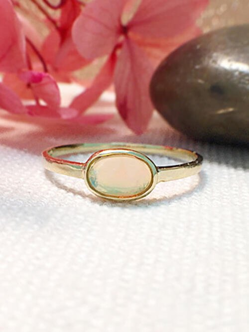 Opal Solitaire Ring | Gemstone Engagement Ring | 6x4MM Ethiopian Opal Ring | Solid Gold | 14K Yellow Gold | Fine Jewelry | Free Shipping