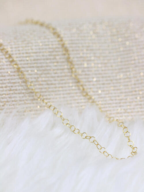 3.3MM Round Cable Solid 14 Karat Bubble Chain