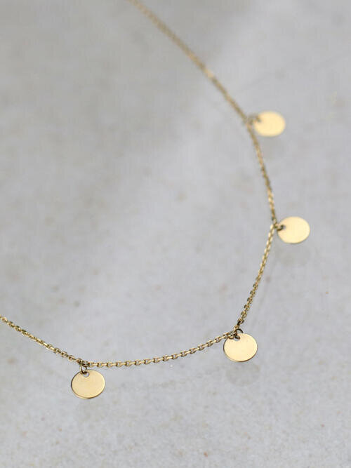 Gypsy Choker Dangle Solid 14 Karat Gold Necklace