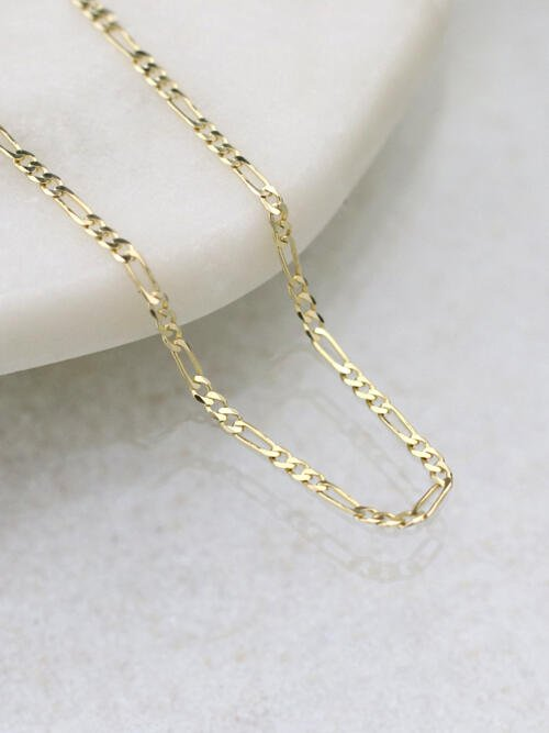 3.0MM Figaro Solid 14 Karat Gold Chain
